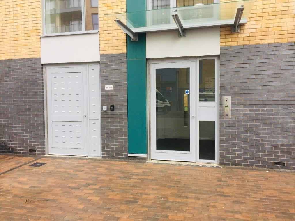 A photo of a Warrior Security Communal Entrance Door & Warrior Bin Store Door