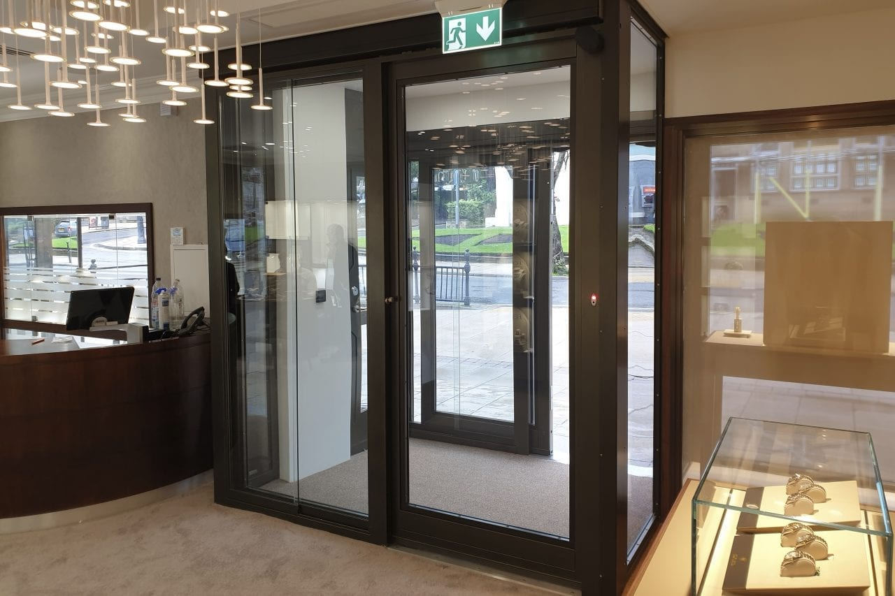 Warrior Fully Glazed Interlocking Sliding Doors from the inside of Lister Horsfall