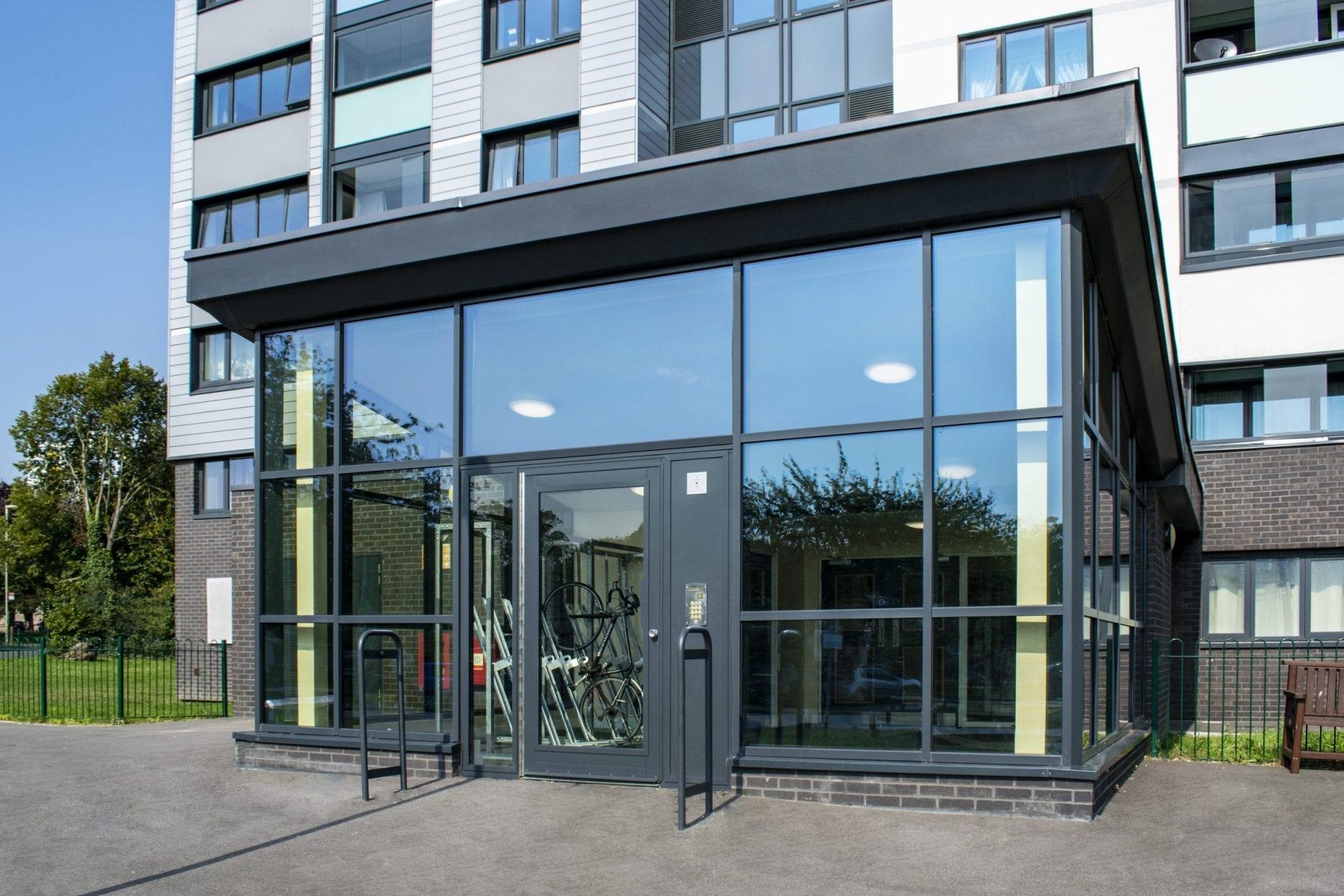 Fully Glazed Residential Communal Entrance Door