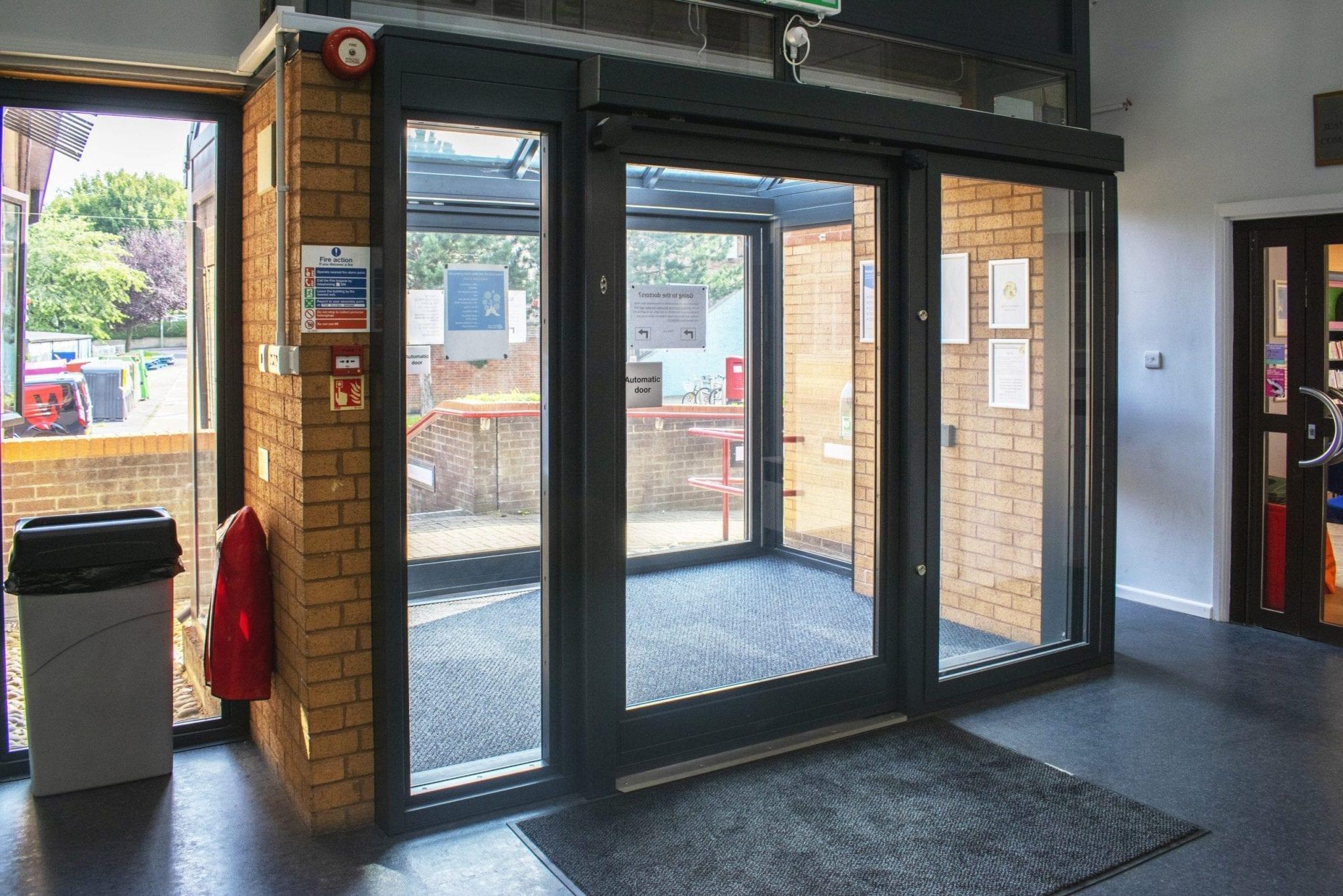Fully Glazed Sliding interlock in a community centre.