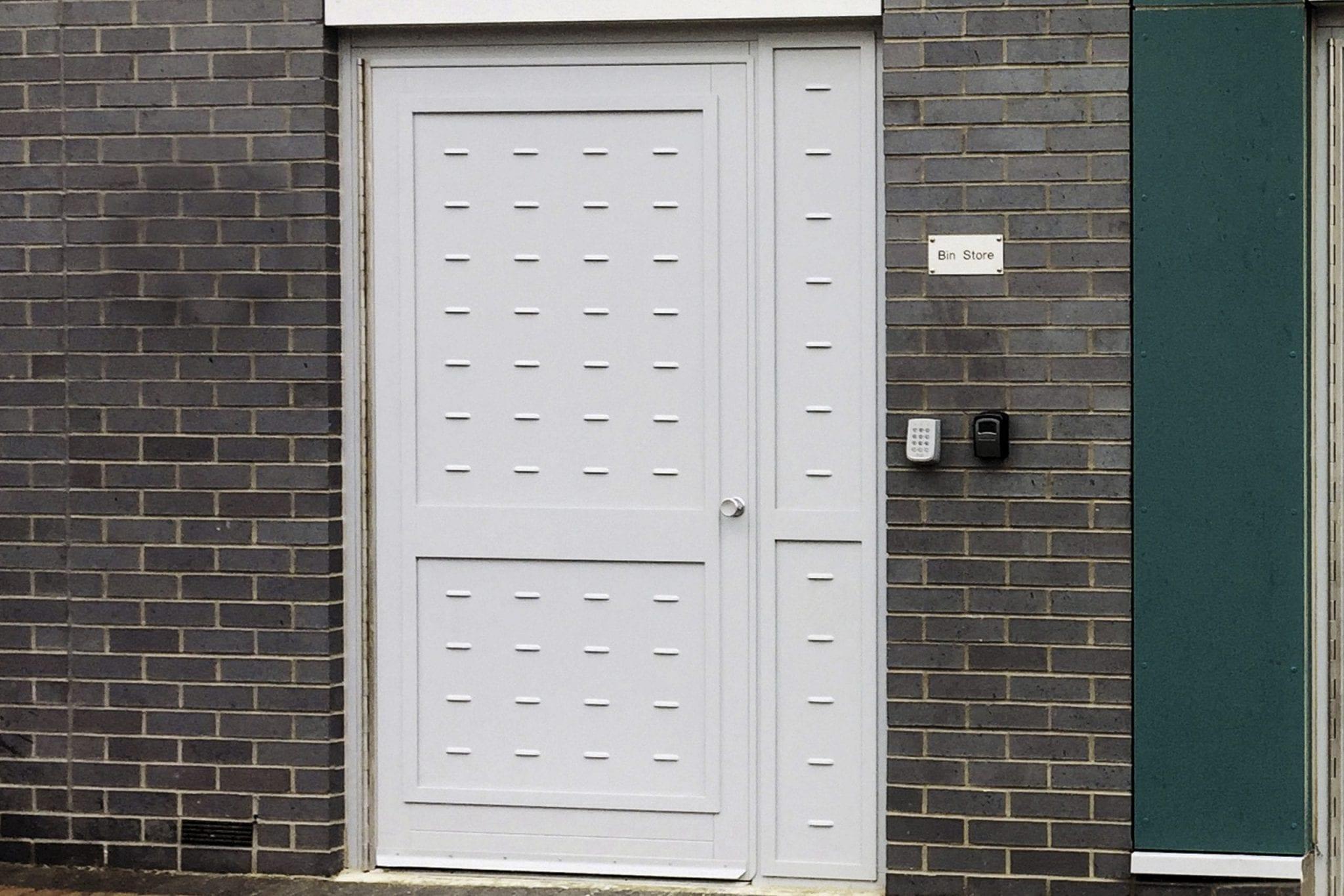 Warrior Bin Store Door on a Communal Residential Building.