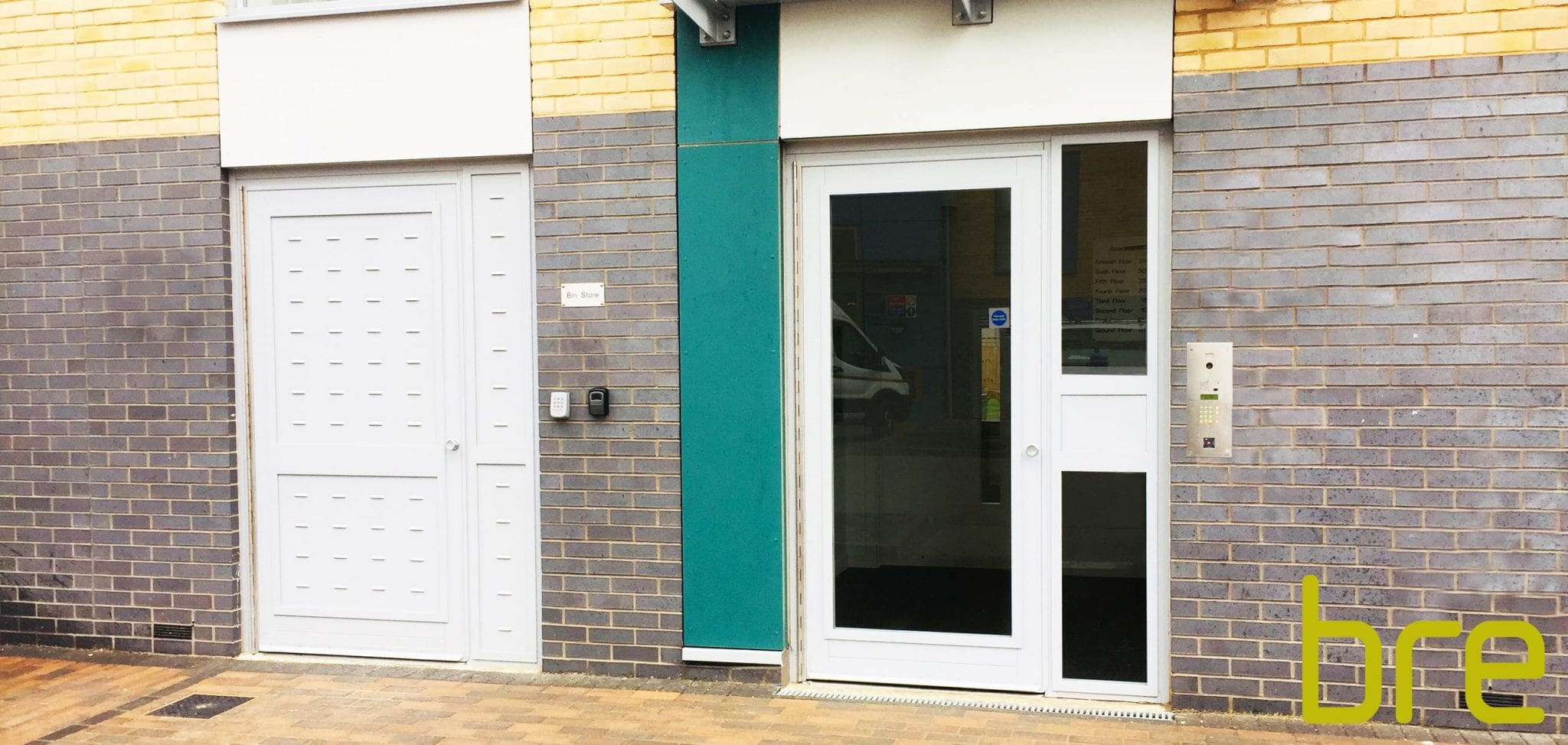 Warrior Fully Glazed Communal Entrance Door & a Warrior Bin Store Door.