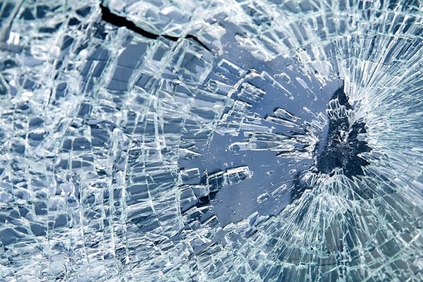 smashed toughened glass