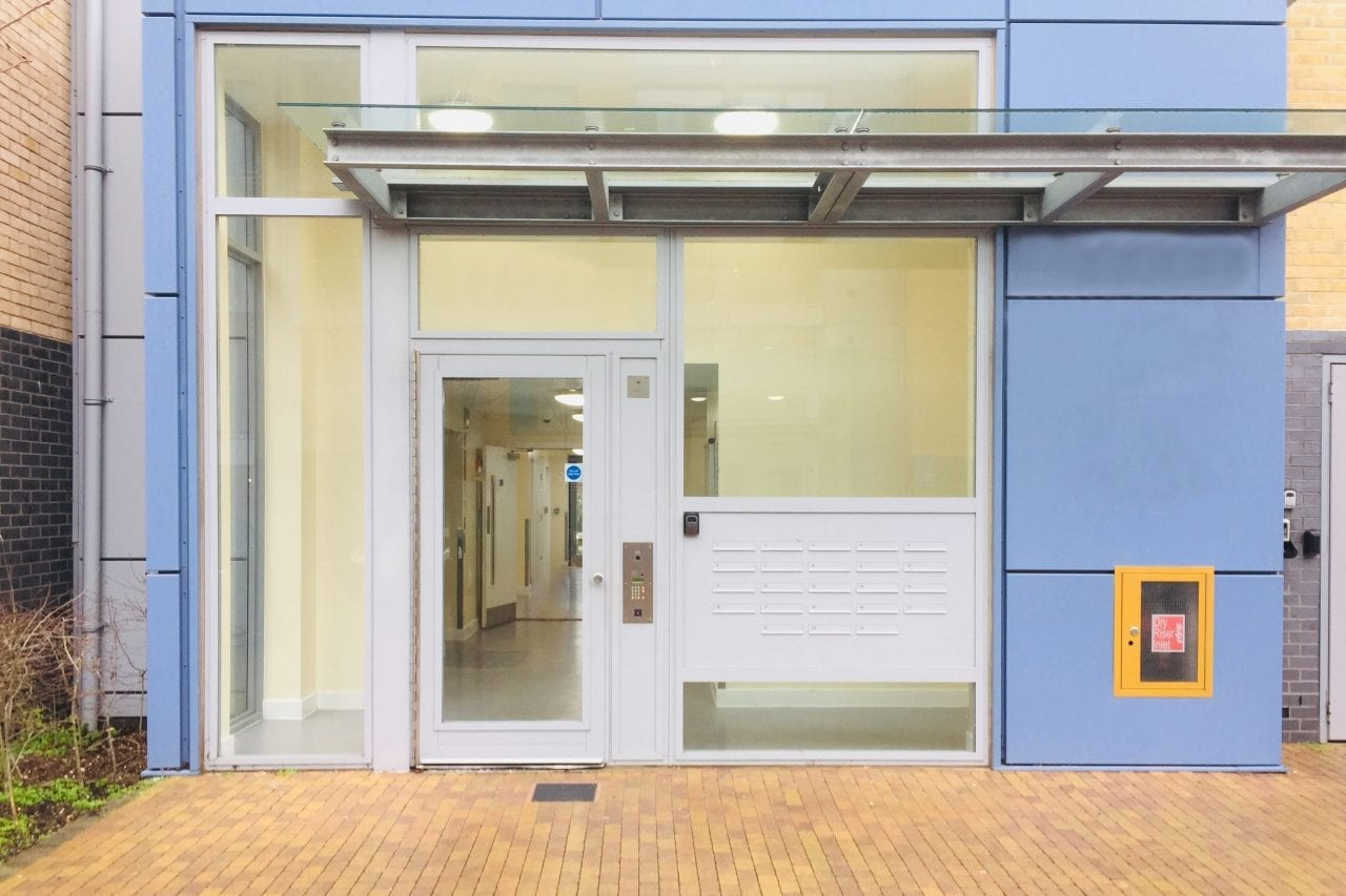 Fully Glazed Warrior Communal Entrance Door & Screens on a Communal Residential Building