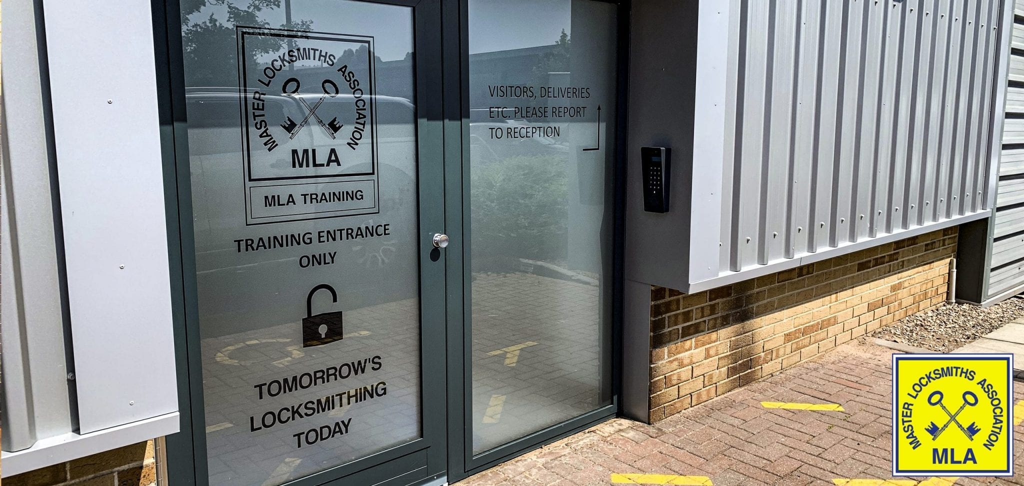 Warrior Fully Glazed High Security Swing Door & Screen with MLA logo in the bottom right corner.