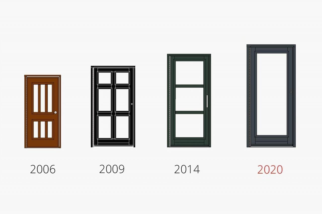 Small drawing of a door with 6 small glass panels with the caption 2006. Larger drawing of a door with 6 large glass panels with the caption 2009. Larger drawing of a door with 3 very large glass panels with the caption 2014. Large drawing of a fully glazed door with the caption 2020.