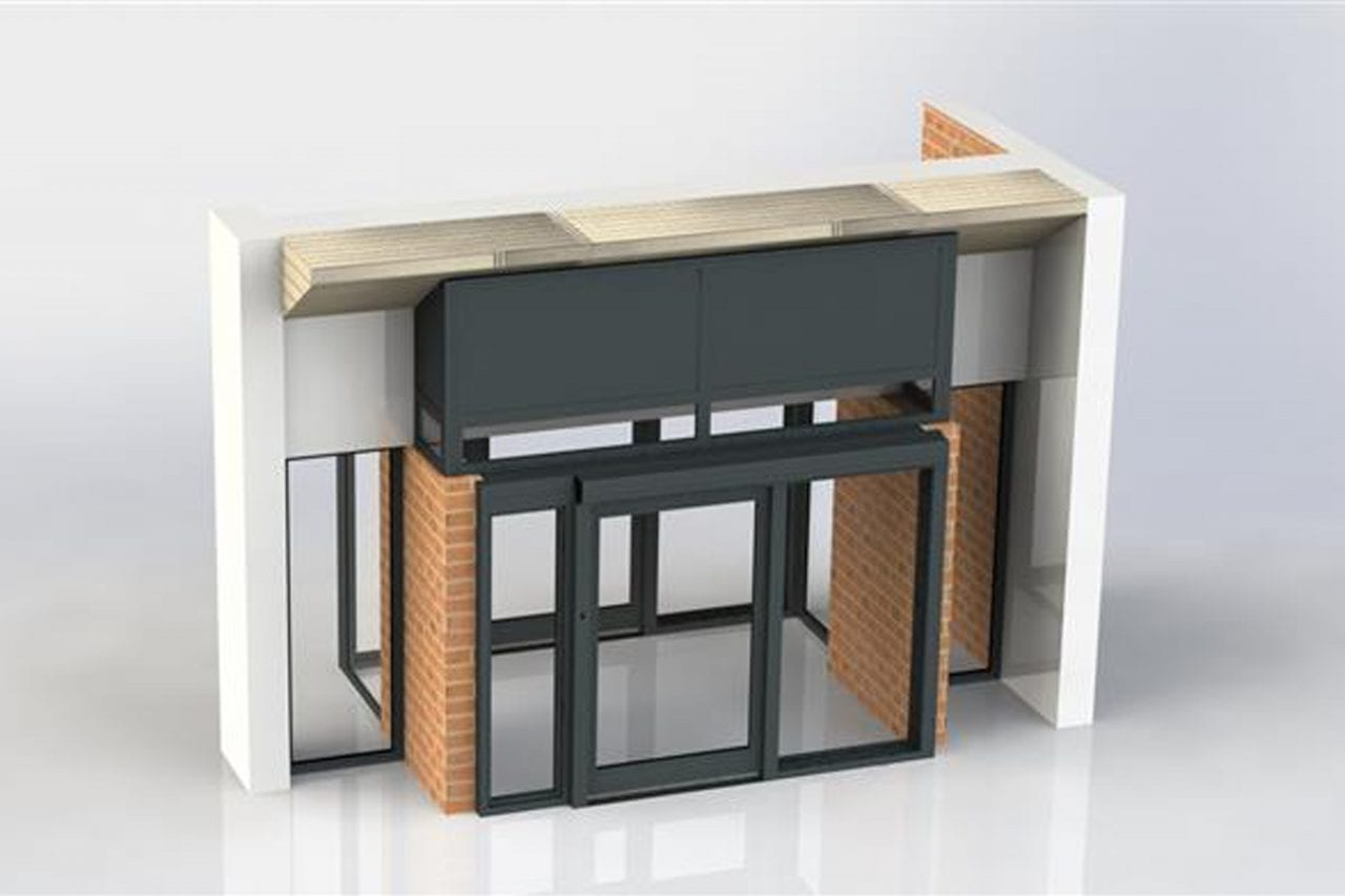 3D render of a sliding interlock with screens