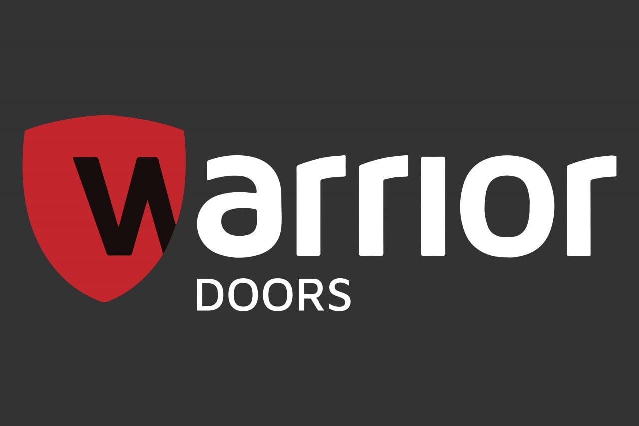 Warrior Doors logo with white text on a dark grey background.