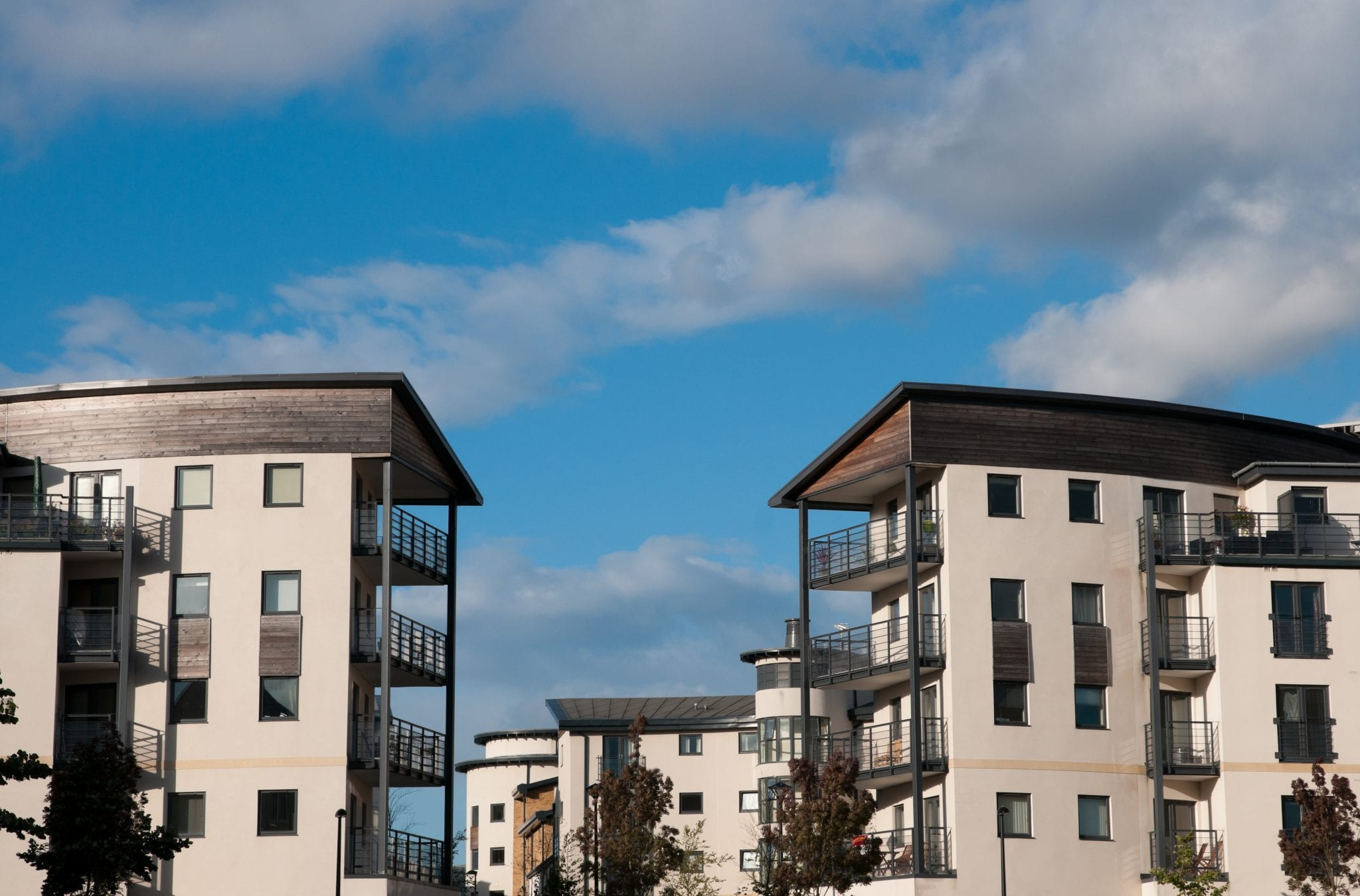 Modern Communal Blocks with blue sky background