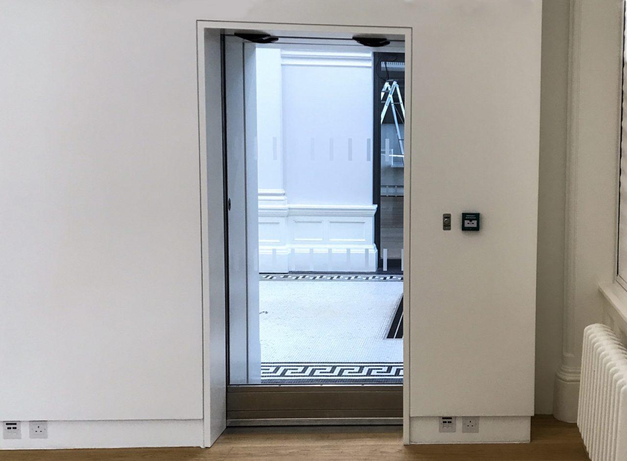 Warrior Sliding Door in a white room