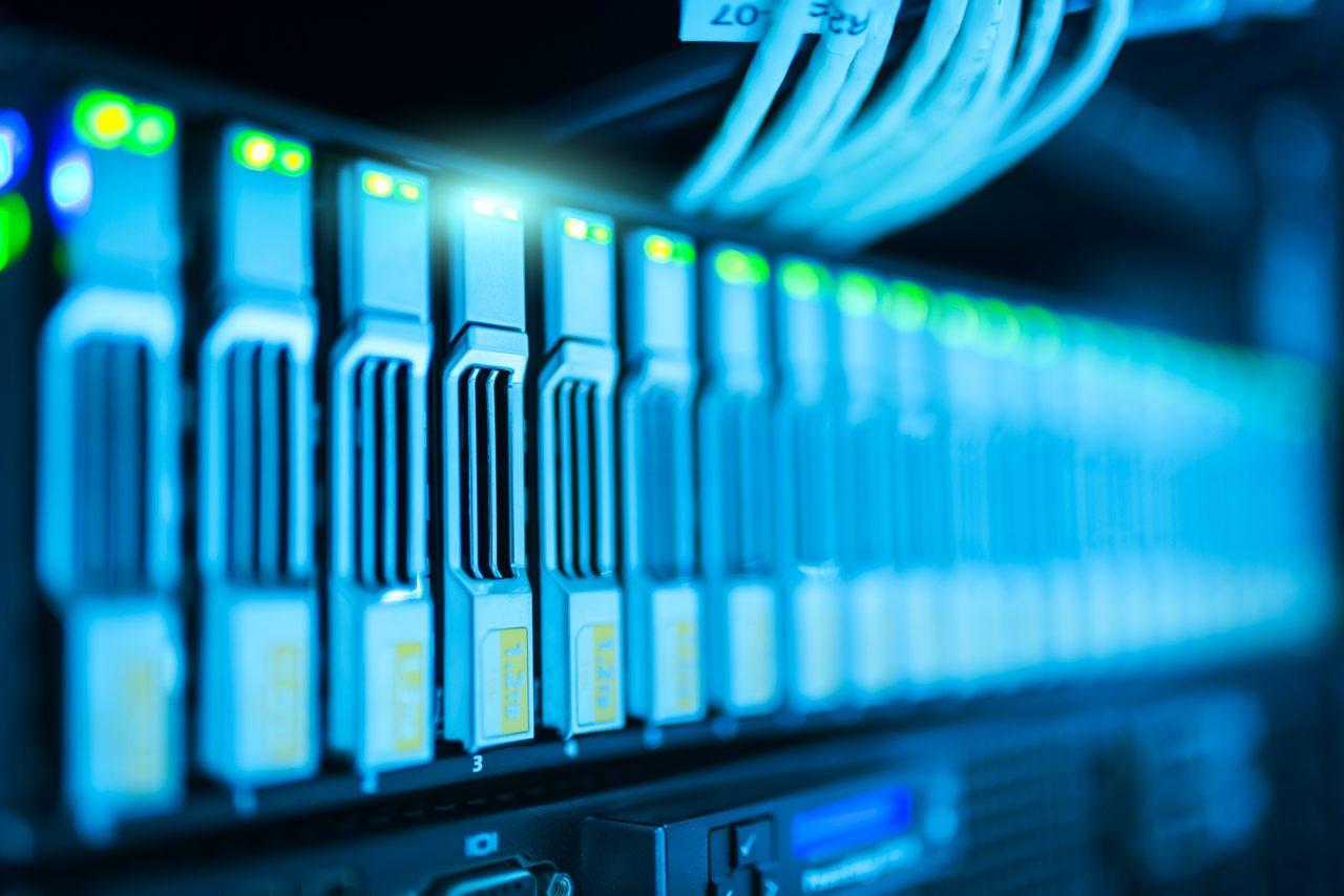 close up of Data Centre servers