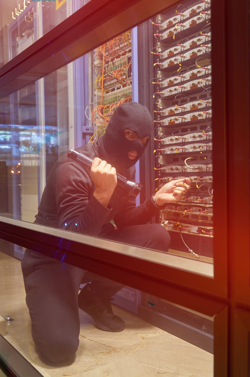 Thief stealing servers from Data Centre with no Security