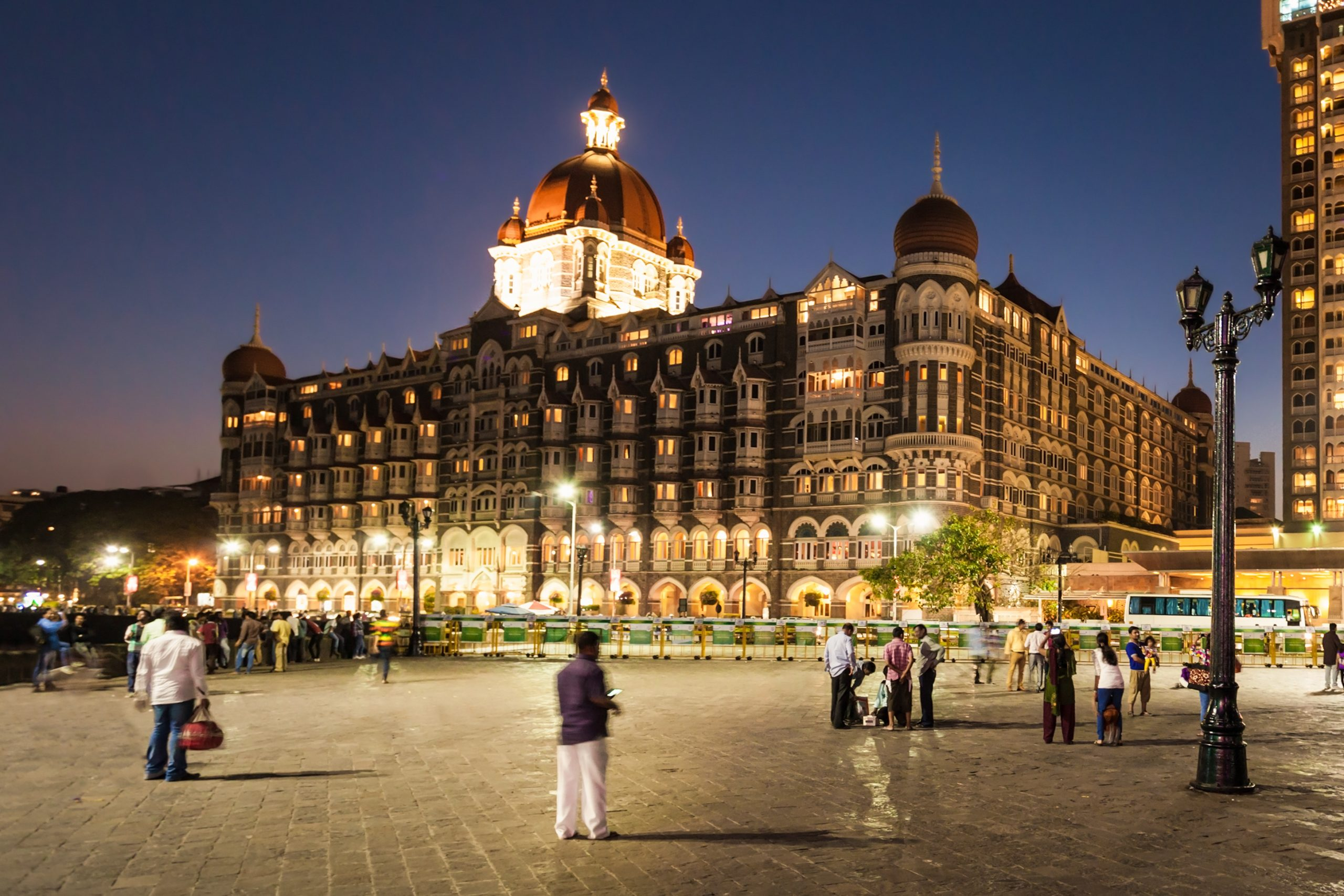 The Taj Mahal Palace Hotel at night.