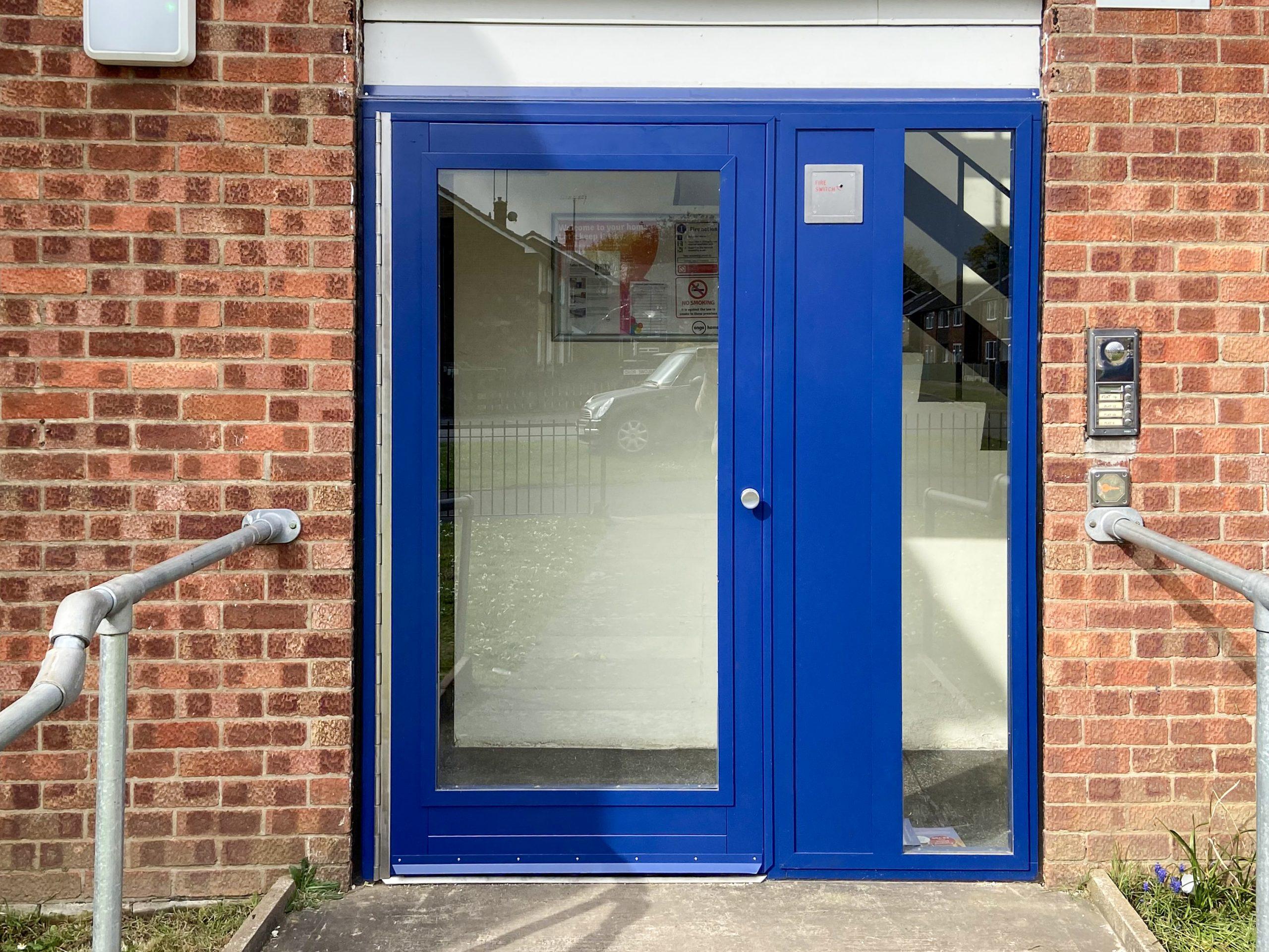 Fully Glazed Blue Communal Entrance Door