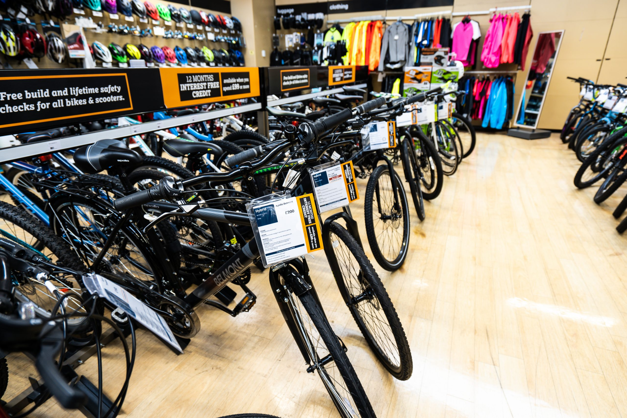 line of bikes inside a store