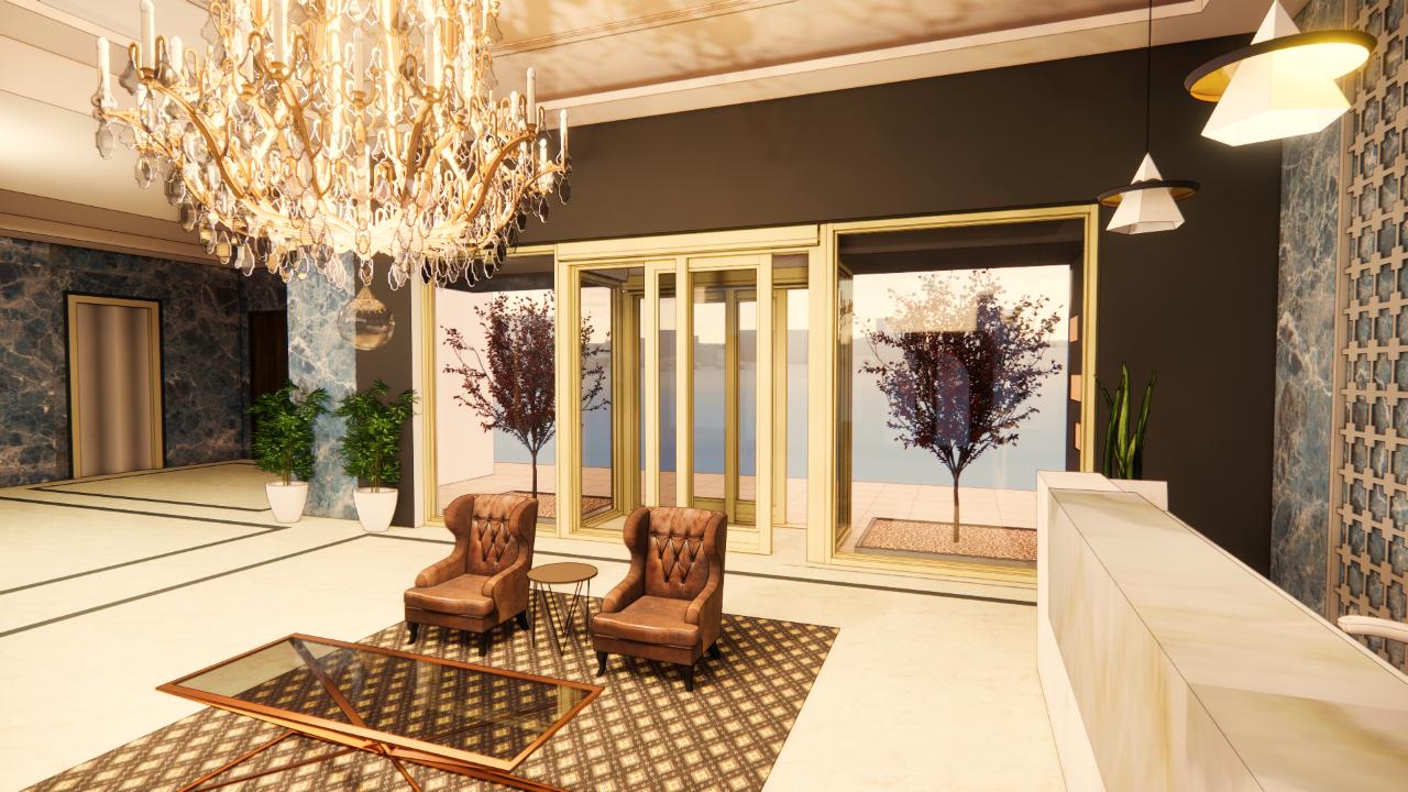 render of a sliding interlock door in a luxury hotel lobby