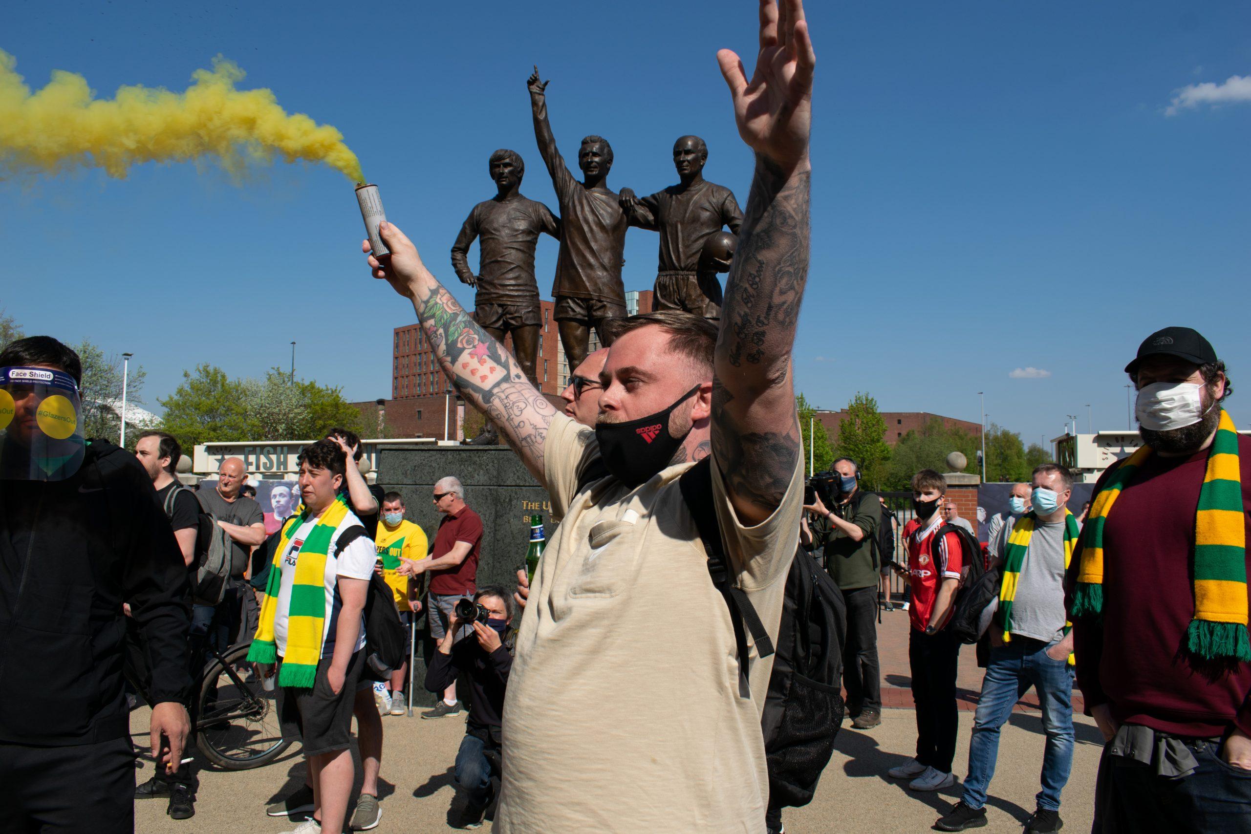 Protestors at Old Trafford Sports Stadium