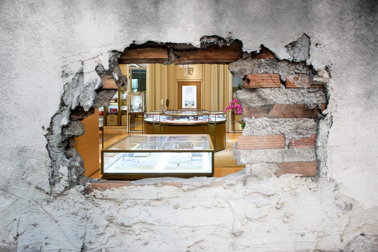 Hole in a wall leading to a jewellery store.