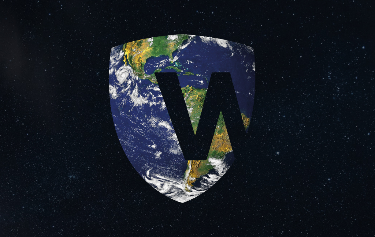 Warrior shield shaped earth in space