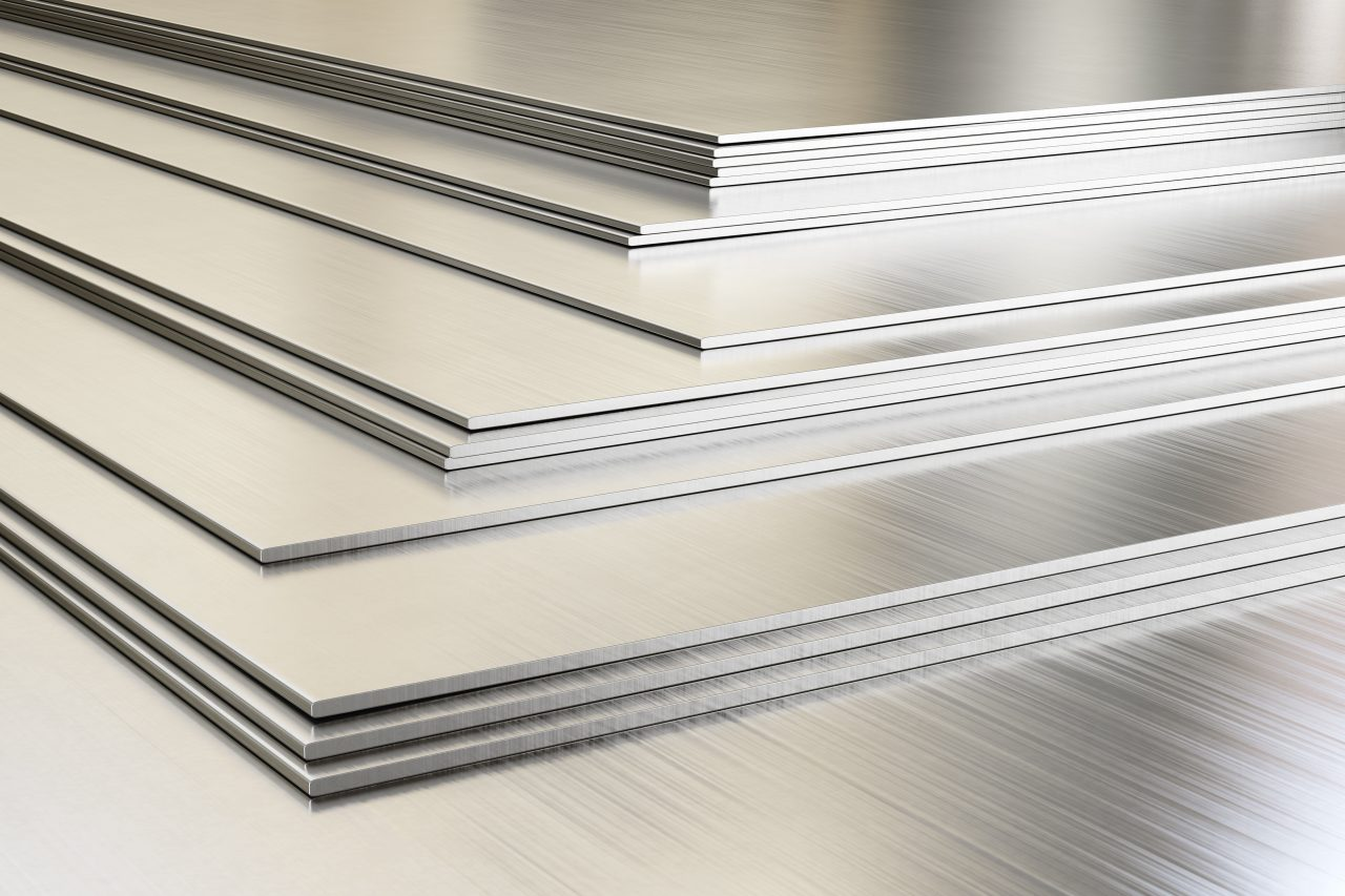 Pile of stainless steel sheets