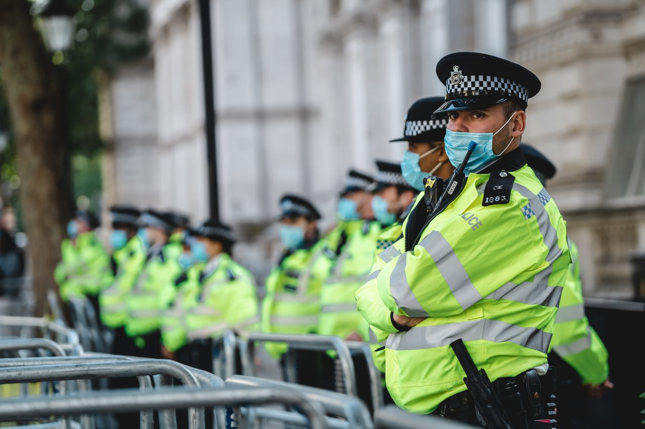 Police officers lined up on duty in England