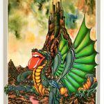 Rolling Stones Poster From A Show In Cardiff Featuring A Dragon By A Volcano