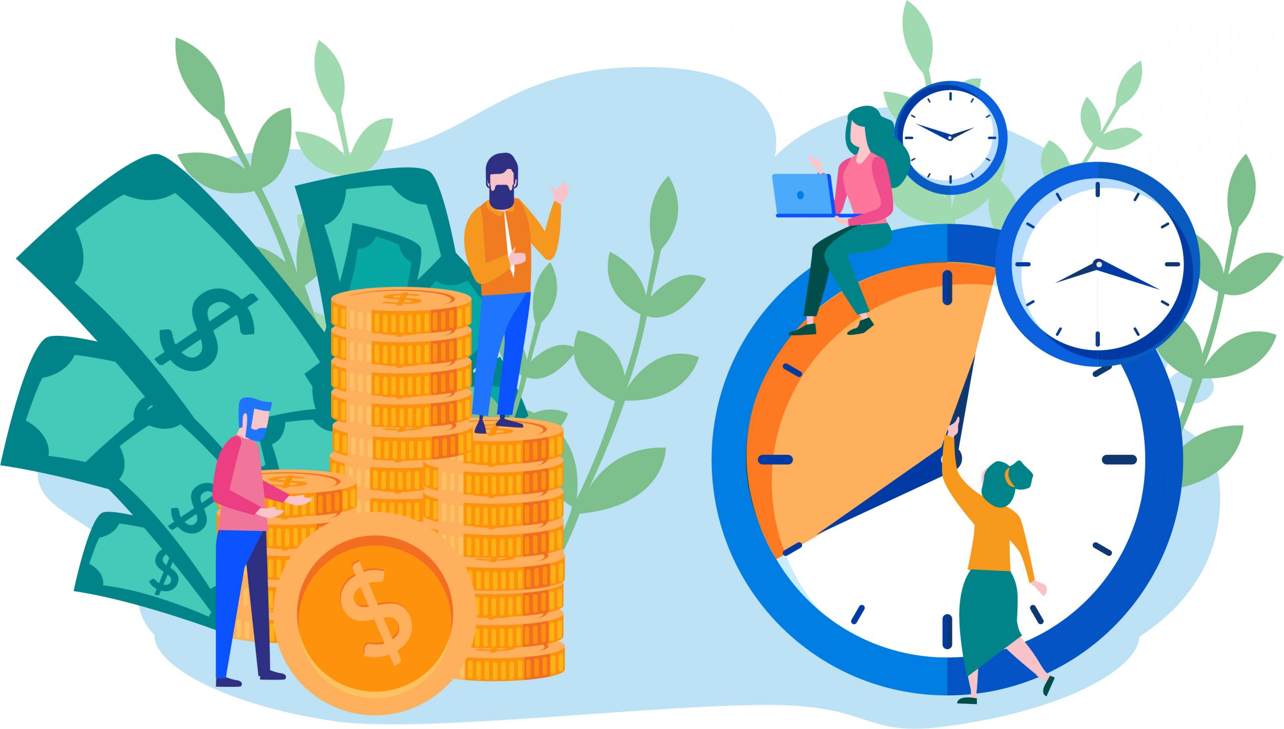 illustration of people money and clocks going forward to show whole life costs