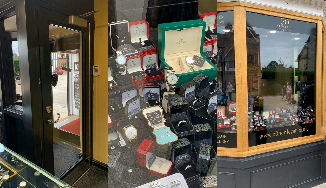 collage of photos of 50 Henley Street, pic 1 - Interlocking door from inside the store. pic 2 - collection of jewelley seen through display window. pic 3 - shopfront display window finished with wood effect