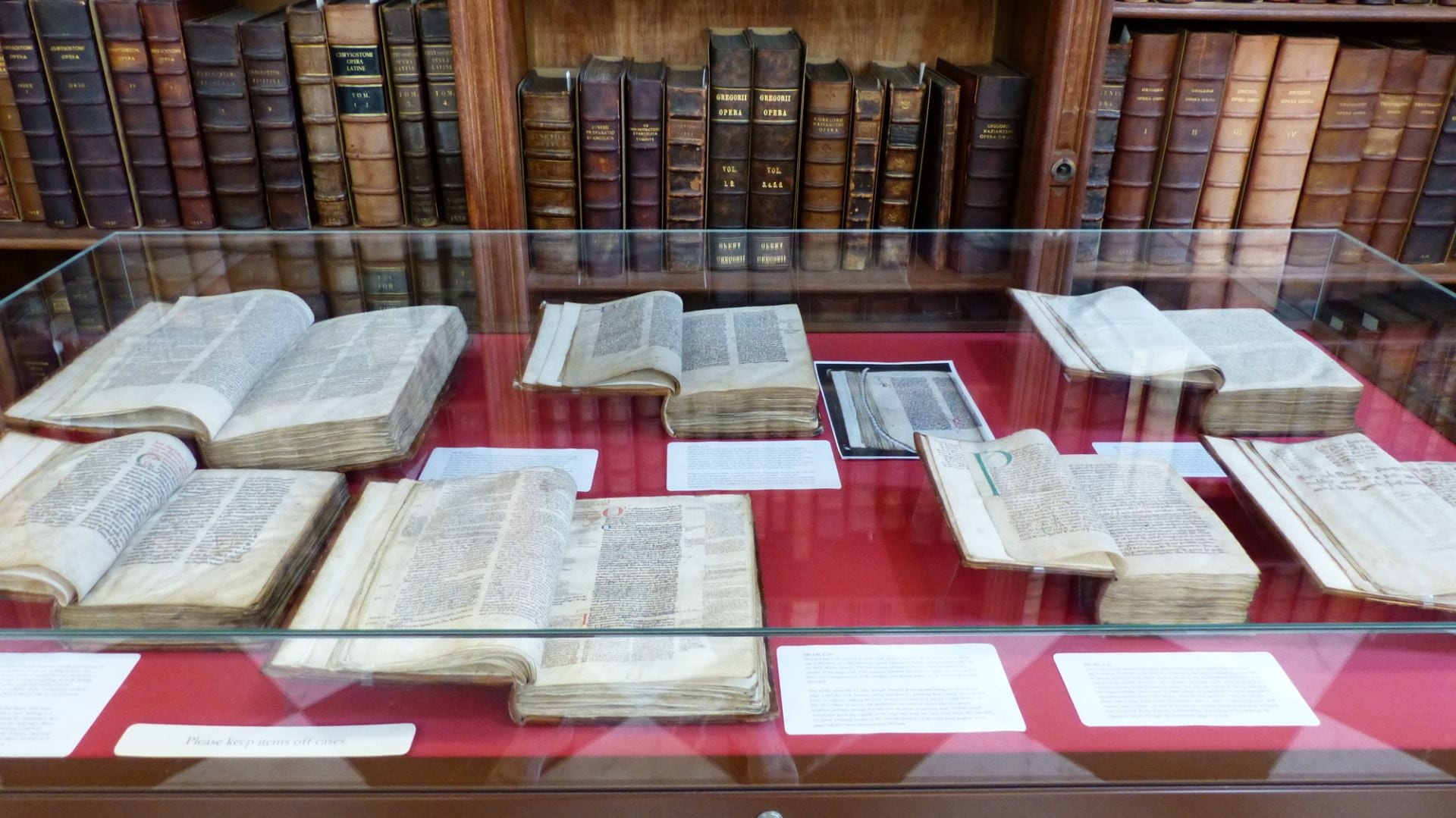 books on display inside Lambeth Palace Library